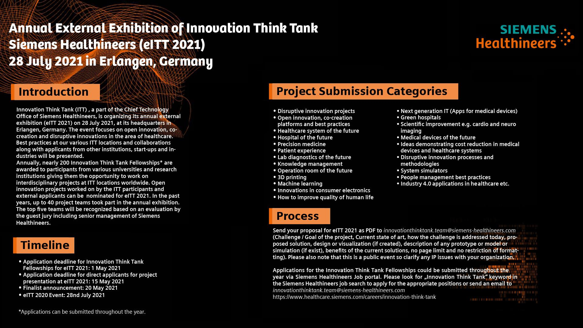 Showcase Your Innovative Project at the External Innovation Think Tank Exhibition (eITT 2021)